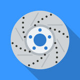 Colorful brake disc icon in modern flat style with long shadow. Car parts Stock Photography