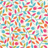 Colorful Branches Seamless Pattern Background. Vector Colorful Branches Seamless Pattern Background With abstract plants with fun leaves and branches forming a stock illustration