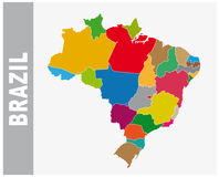 Colorful Brazil administrative and political map Royalty Free Stock Image