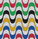 Colorful brazil mosaic seamless pattern background. Colorful mosaic design of Brazil beach sidewalk, geometric seamless pattern wave shape background. EPS10 Royalty Free Stock Photo