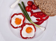 Colorful breakfast. Visually appealing colorful breakfast with pepper and eggs stock image