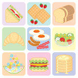 Colorful Breakfast Food Set Stock Photography