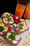 Colorful breakfast sandwiches Stock Photography