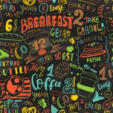 Colorful Breakfast seamless pattern design template. Modern lettering with sketch icons of food on chalkboard background Royalty Free Stock Photos