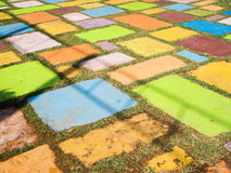 Colorful brick on ground Royalty Free Stock Photo