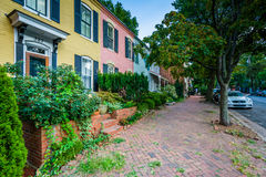 Colorful brick row houses in the Old Town, Alexandria, Virginia. Stock Image
