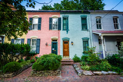 Colorful brick row houses in the Old Town, Alexandria, Virginia. Royalty Free Stock Image