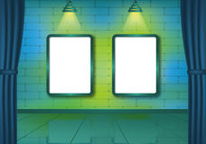Colorful brick show room with spotlights Royalty Free Stock Photo