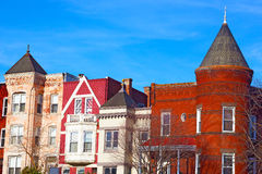 Colorful brick townhouses of Washington DC. Stock Photography