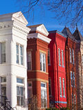 Colorful brick townhouses of Washington DC. Royalty Free Stock Image