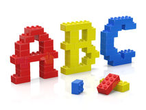 Colorful brick toys alphabet Stock Photos