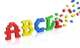 Colorful brick toys alphabet Royalty Free Stock Photos