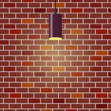Colorful brick wall, illuminated by hanging lamp. Brick wall background. Violet ceiling lamp. Vector illustration in flat style. Colorful brick wall Stock Image