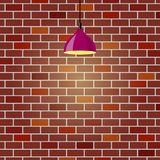 Colorful brick wall, illuminated by hanging lamp. Brick wall background. Violet ceiling lamp. Vector illustration in flat style. Colorful brick wall Stock Images