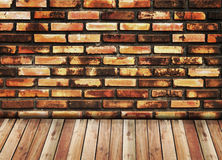 Colorful brick and wood floor Royalty Free Stock Photography