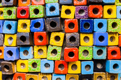 Colorful bricks decorate on the wall. Colorful bricks decorate on the beautiful wall Royalty Free Stock Photos