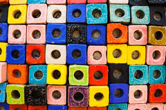 Colorful bricks decorate on the wall. Colorful bricks decorate on the beautiful wall Royalty Free Stock Photography