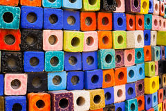 Colorful bricks decorate on the wall. Colorful bricks decorate on the beautiful wall Stock Images