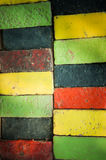Colorful bricks decorate on the wall. Colorful bricks decorate on the beautiful wall Stock Photos