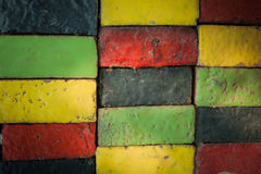 Colorful bricks decorate on the wall. Colorful bricks decorate on the beautiful wall Stock Image