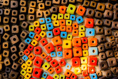 Colorful bricks decorate on the wall. Colorful bricks decorate on the beautiful wall Royalty Free Stock Photo