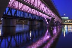 Colorful Bridge. Colorful light rail bridge across the Salt River in Tempe Arizona at sunset Royalty Free Stock Image