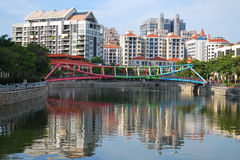 Colorful bridge along Singapore River royalty free stock photos