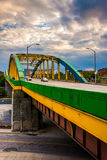 Colorful bridge on Howard Street in Baltimore, Maryland. stock images