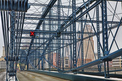 Colorful bridge with Pittsburgh, PA, skyline Royalty Free Stock Photo