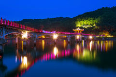 Colorful bridge or Wolyeonggyo Bridge at night in Andong,Korea. Stock Images
