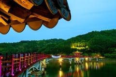 Colorful bridge or Wolyeonggyo Bridge at night in Andong,Korea. Stock Photo