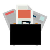 Colorful briefcase and documents office Stock Photo