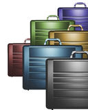 Colorful Briefcases. Conceptual 3d business image of colorful briefcases against a white background. Room for text Royalty Free Stock Images