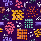 Colorful bright abstract hand drawn different shapes brush strokes and textures seamless pattern. Swatch stock illustration