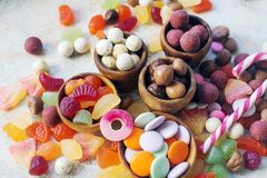Free Colorful Bright Assorted Sweets And Candy For Kids Party On White Table Royalty Free Stock Photography - 163452407