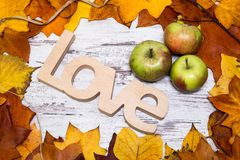 Colorful and bright autumnal background, autumn leaves, on a shabby white wooden background with three green and red apples and wo Royalty Free Stock Photos
