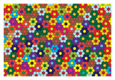 Colorful bright background with mosaic flowers Stock Photo