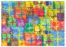 Colorful bright background with scribble presents royalty free illustration