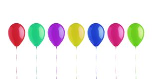 Colorful bright balloons isolated on white Stock Image