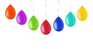 Colorful bright balloons isolated on white Stock Photography