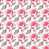 Colorful bright beautiful lovely summer sea tasty delicious pattern of red crabs and tender pastel seashells watercolor hand illus Stock Photo