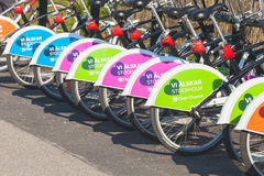 Colorful bright bicycles for rent, Stockholm Royalty Free Stock Photos