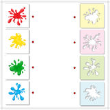 Colorful bright blots. Educational game for kids. Choose the correct silhouettes on the opposite side and connect the points vector illustration