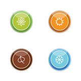 Colorful bright bubbles with seasons icons Stock Photos