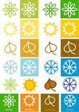Colorful bright cards with seasons icons Royalty Free Stock Images