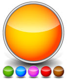 Colorful, Bright Circle Icons with Empty Space and Glossy Effect Royalty Free Stock Photography
