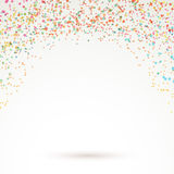 Colorful bright confetti carnival background. Layout with rainbow dot particle splatter. Vector illustration Stock Image
