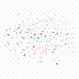 Colorful bright confetti isolated on transparent background. Vector illustration royalty free illustration