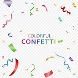 Colorful bright confetti isolated on transparent background. Festive vector illustration. Festive event and party. Eps 10 Royalty Free Stock Photo