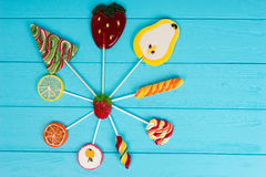 Colorful bright different lollipops as fruits and Christmas Tree Stock Photography